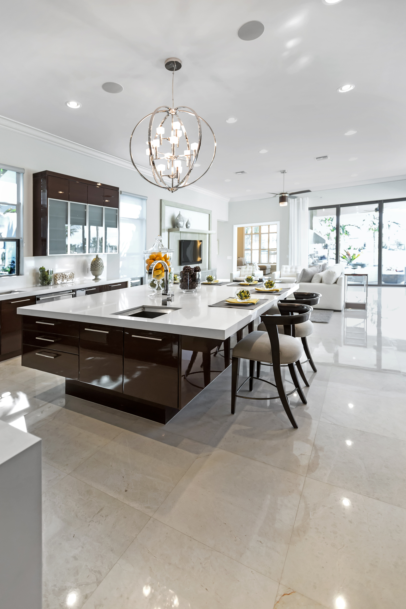 Beautiful Modern kitchen with a counter height table
