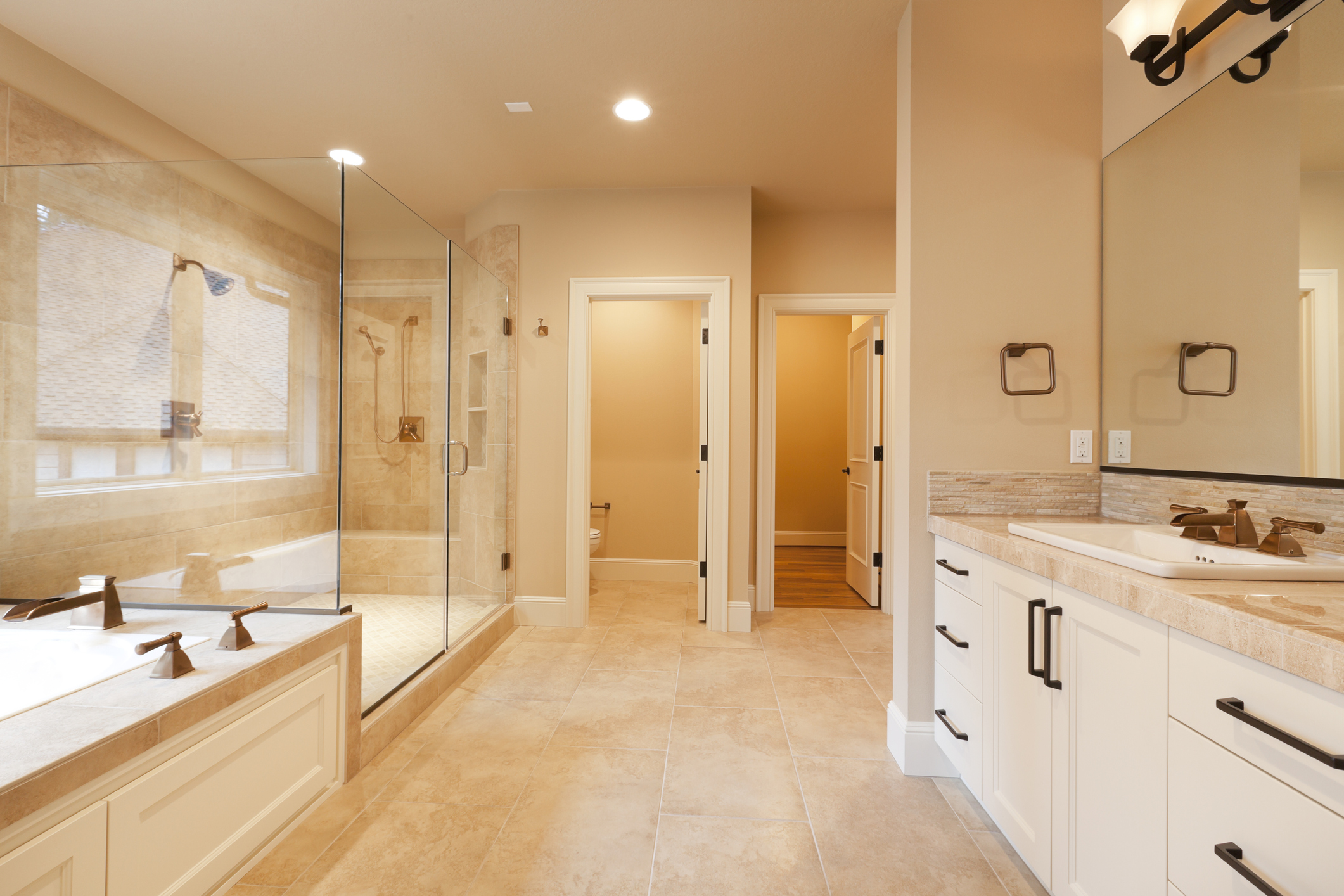 Beautiful, large master bathroom.